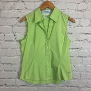 Tommy Hilfiger Top Green Collared Sleeveless Sz 10